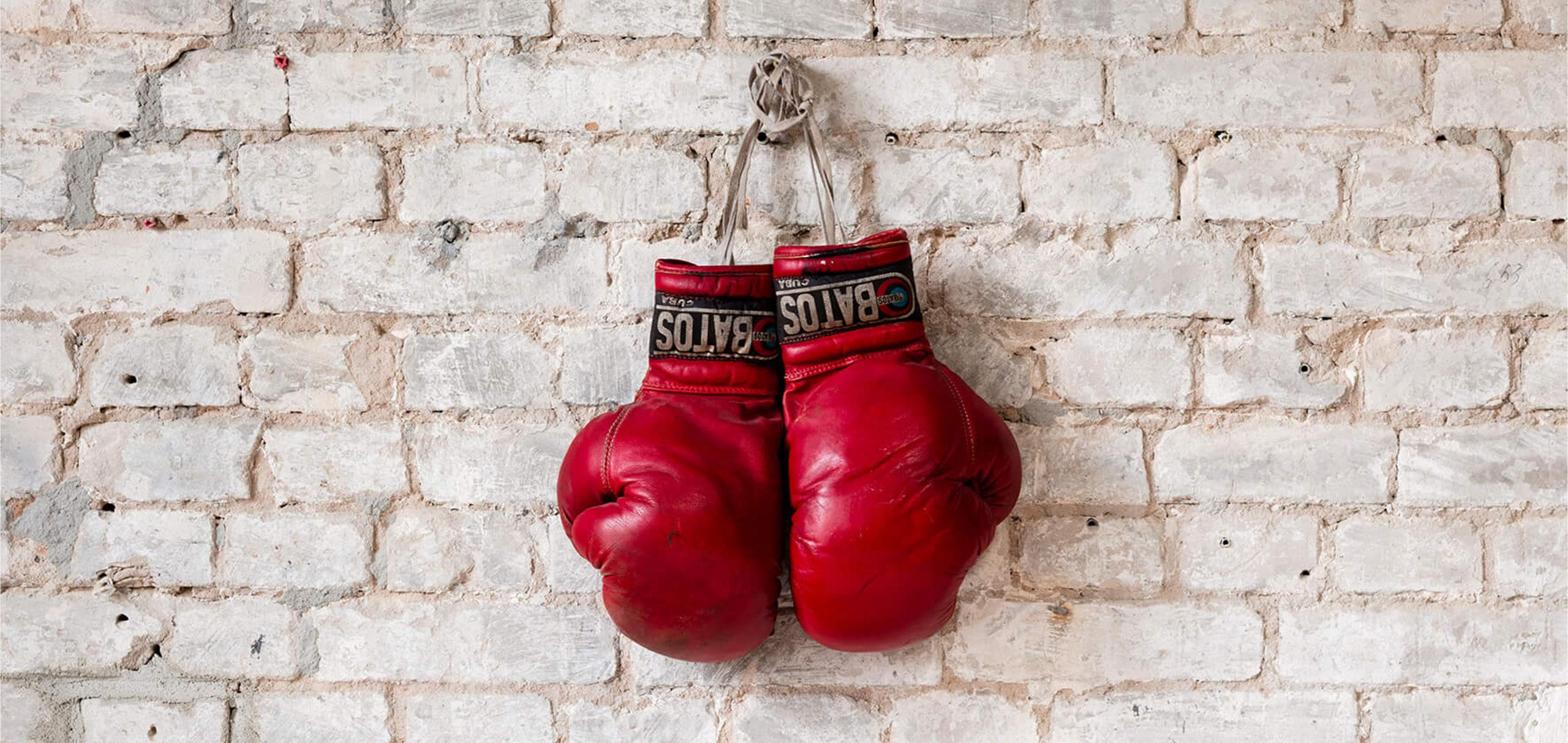 Boxhandschuhe hängen in den Räumen von Ruths Berlin